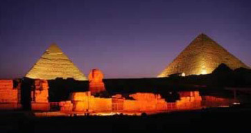 Great Pyramids at Giza during the Sound and Light Show
