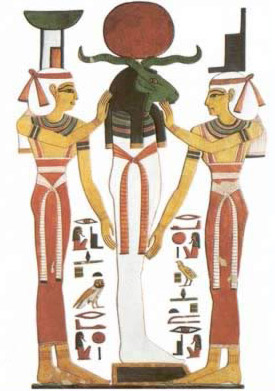 A recreation of a  depiction of Re with Osiris in the Netherworld, assisted by the  GoddessesIsis and Nephthys