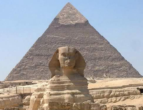 Another View of The Great Pyramid and Sphinx