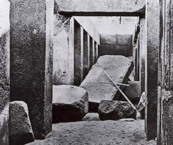 Very early photograph of Khafre's valley temple before it was cleared by Mariette