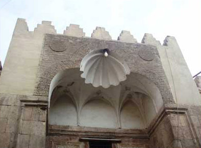 The upper part of the portal of the Qaitbey Mosque in the Fayoum