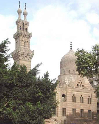 View of the Complex dome and the double minaret