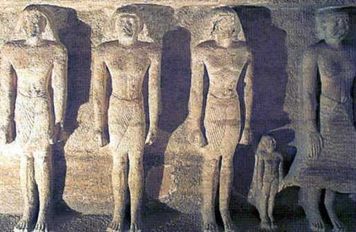 Engaged statues on the rear (south) wall of the main room in Court D