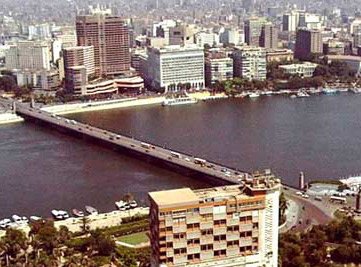A view of Qasr El Nile Bridge from the Cairo Tower