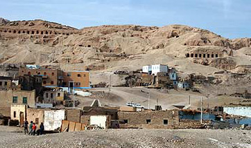 A view of Qurna on the West Bank at Luxor