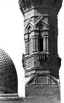 A close-in view of the minaret of the complex