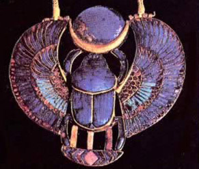 Ra is perpetually resurrected in the mornings in the form of a scarab beetle