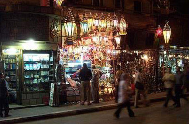 A street in Egypt during Ramadan with a display of Fanous, the Ramadan lanterns. Photo by Diaa Khalil