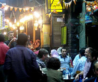 One of the many cafes in the Khan el-khalili