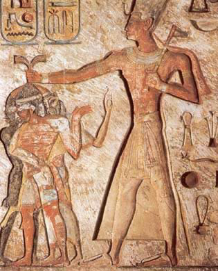 Ramesses II, one   of Egypt's most famous Pharaohs, about to smite his enemies