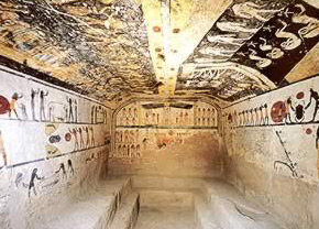 Picture inside the Tomb of  Ramesses IX in Egypt