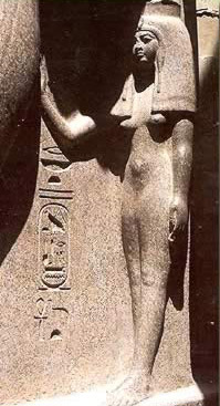 Nefertari at the large temple at Abu Simbel