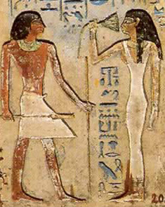 Ramesses II and his new foreign born queen, Maathorneferure