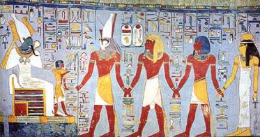 Ramesses I being led  before Osiris from his tomb