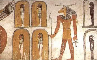Decoration with beautiful colors inside the Tomb of Ramesses the 6th