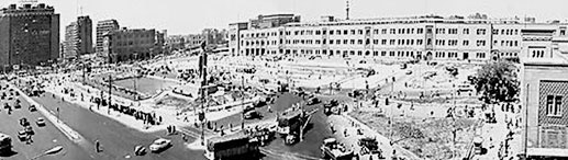 An older view of Ramses Square a few years after the Statue of Ramesses II was erected at this location in Cairo