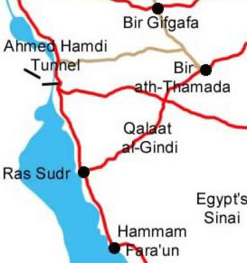 Map showing route to Ras Sidr