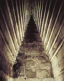 The ceiling of the burial chamber in the Red Pyramid, sometimes referred to as the North Pyramid at Dahshur