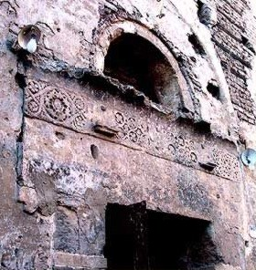 Exterior west capital, lintel and upper moldings of north door of the Red Monastery
