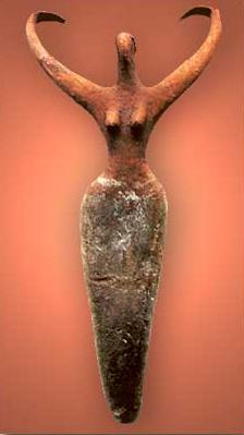 A very early anthropomorphic image, here fusing the form with zoomorphic characteristics. A female figure from the Naqada II Period