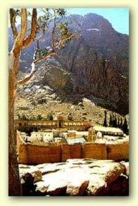 St. Catherine's  Monastery With Mount Sinai (Mount Moses) in the background)