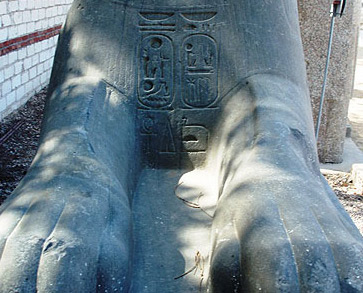 A sphinx belonging to Ramesses II with inscriptions in the Open Air Museum