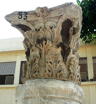 A very fine capital carved with intricate designs in the Open Air Museum
