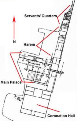 Plan for the Great Palace including Coronation Hall, the King's residence, the Harem and Servants' Quarters