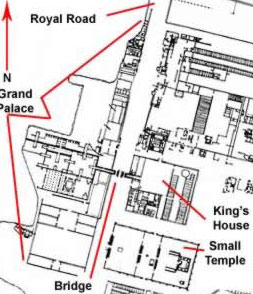 An overall plan of the Royal estate including the Grand Palace, King's House, Bridge and Small Aten Temple