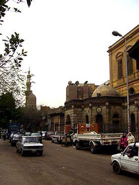 Saliba Street in Cairo, with a view of the Sabil Umm Abbas