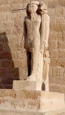 The Colossal Statue of Ramesses II with a small Queen