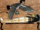 Sahu - the transformed mummy, with the ba hovering above