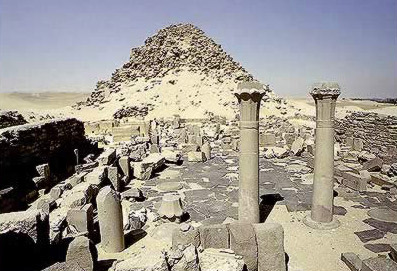 A View of the Pyramid of Sahure at Abusir in Egypt with the Mortuary temple in the foreground