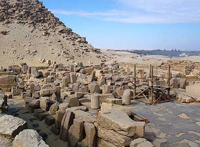 A view of the rubble of the Mortuary Temple at the Pyramid of Sahure in Abusir