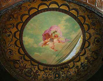 The ceiling of the dining room