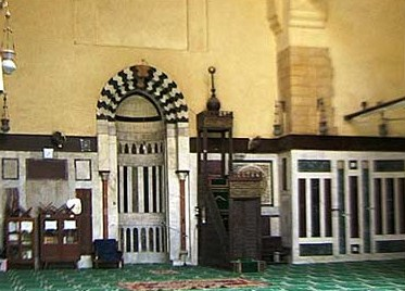 The Qibla Iwan in the madrasa, showoing the mihrab and minbar