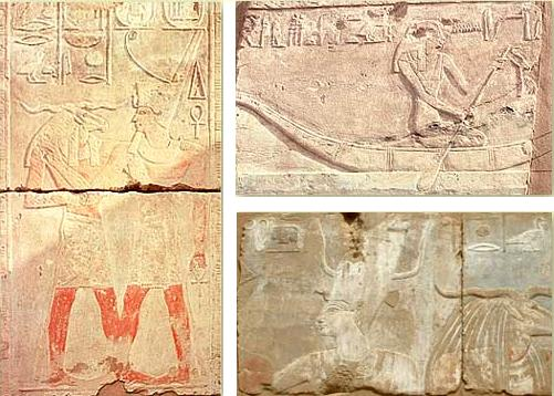 Scenes from the New Kingdom Temple including (left) Khnum & Tuthmosis III, (above right) Satis in a boat, and (below Tuthmosis III and Khnum