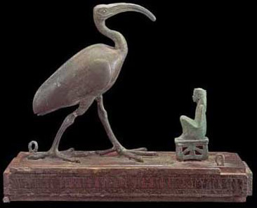 Thoth as an Ibis, before Ma'at, representing order