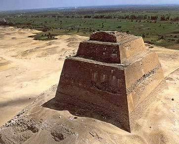 There is some controvery as to whether Snefru's Pyramid at Meidum collapsed due to contruction techniques, or perhaps because of other factors, but its construction led up to that of the Red Pyramid, the first true one to remain mostly intact.