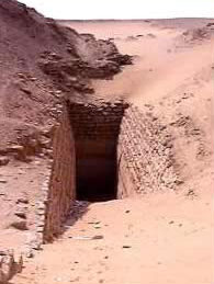 Entrance of King Sekhemkhet's Pyramid at Saqqara in Egypt