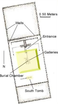 Plan of King Sekhemkhet's Pyramid at Saqqara in Egypt