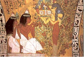 A tree goddess from the tomb of Sennedjem