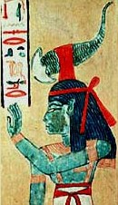 Painting of Serqet with the symbol of the Scorpion on her Head