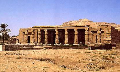A view of the front of Seti I's Temple of Millions of Years at Luxor in Egypt