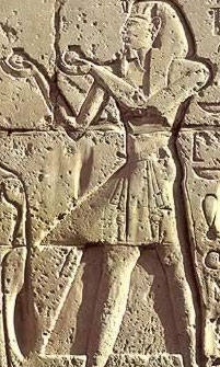 Seti I making offerings in his Temple of Millions of Years at Luxor in Egypt