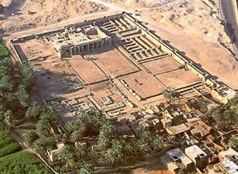 Overhead view of Seti I's Temple of Millions of Years at Luxor in Egypt
