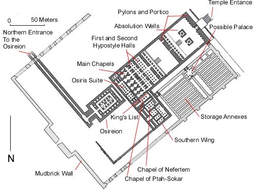 Ground Plan of the Main Seti I Temple at Abydos