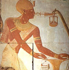 Seti I being offered  the djed and ankh