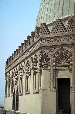 A look at the decorative  exterior of the mausoleum