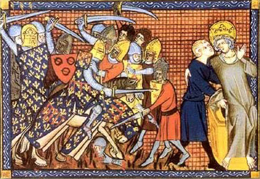 The French King about to  be taken prisoner, Painting by Guillaume de Saint-Pathus